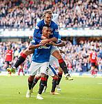 Alfredo Morelos celebrates his goal with Niko Kranjcar