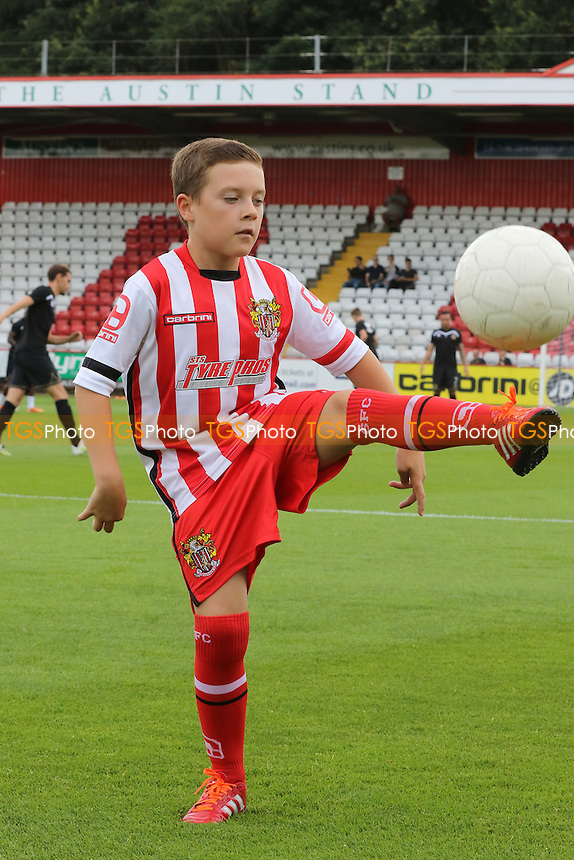 The young Stevenage mascot shows his skills with the ball during Stevenage vs MK Dons, Friendly Match Football at the Lamex Stadium on 30th July 2016