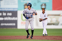 Hudson Valley Renegades right fielder Jordan Qsar (9) leads off second base during a game against the Connecticut Tigers on August 20, 2018 at Dodd Stadium in Norwich, Connecticut.  Hudson Valley defeated Connecticut 3-1.  (Mike Janes/Four Seam Images)