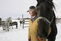 Horse owner Morris Presisniuk on January 26, 2003 with Queen on Mr. Presisiuks farm, northeast of Edmonton. John Ulan/Epic Photography Inc.