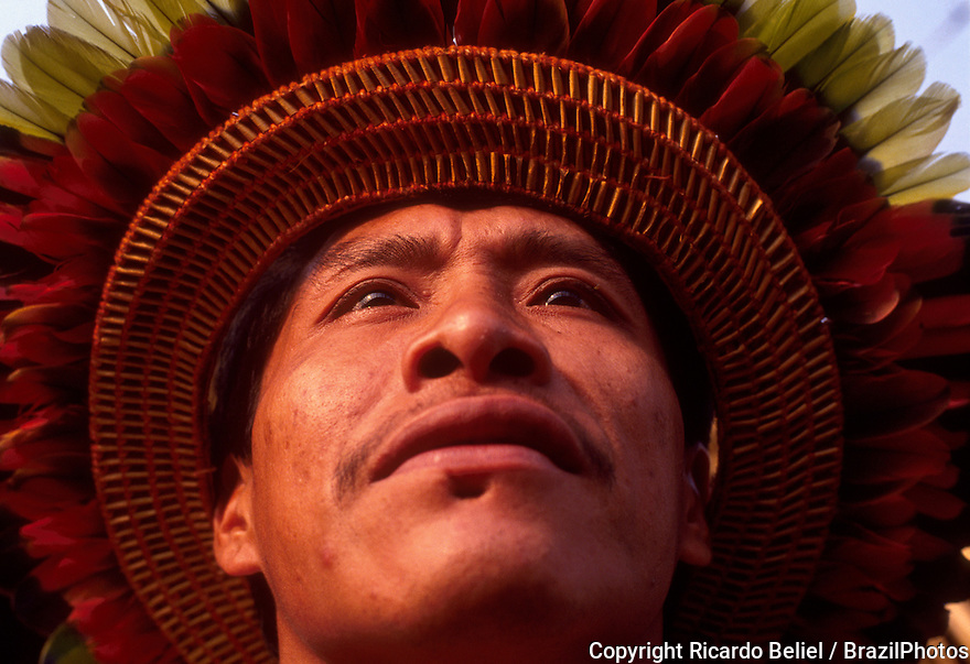 Portrait of Parakana Indigenous People man, Amazon rain forest, Brazil.