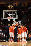 March 7, 2015; Las Vegas, NV, USA; Pepperdine Waves players huddle against the San Diego Toreros during the first half of the WCC Basketball Championships at Orleans Arena.