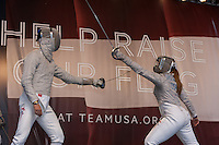 USA Olympic Fencing team members participate in the Road to London 100 Days Out Celebration in Times Square in New York City, New York, USA on Wednesday, April 18, 2012.  Times Square was transformed into an Olympic Village for the event.