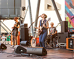 Raleigh, North Carolina- August 11, 2017<br /> <br /> (left to right) Mary Timony, Betsy Wright and Laura Harris of Ex Hex. <br /> <br /> Ex Hex and Waxahatchee played an outdoor concert with MERGE Records label mates Superchunk at the North Carolina Museum of Art. (Photo by Jeremy M. Lange for The New York Times)