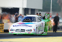 Mar. 12, 2012; Gainesville, FL, USA; NHRA funny car driver Jack Beckman during the Gatornationals at Auto Plus Raceway at Gainesville. The race is being completed on Monday after rain on Sunday. Mandatory Credit: Mark J. Rebilas-