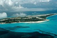 aerial of Sand Island, Midway Atoll, Papahanaumokuakea Marine National Monumen, Northwestern Hawaiian Islands, or Leeward Islands, Hawaii, USA, Pacific Ocean