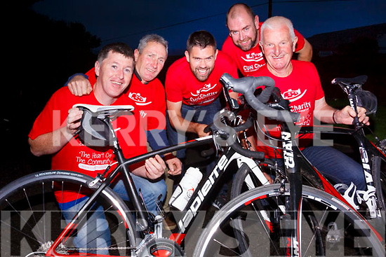 Mikey Joe O'Sullivan motivates South Kerry Cyclists to cycle for CUH pictured here l-r; Anthony O'Sullivan, Dermot Keating, Colm McGill, Diarmuid O'Leary & Timmy O'Sullivan.