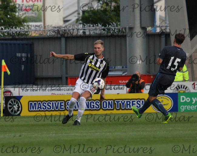 Marc McAusland clears in the St Mirren v Newcastle United friendly match played at St Mirren Park, Paisley on 30.7.13.