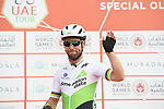 Mark Cavendish (GBR) Team Dimension Data at sign on before the start of Stage 2 of the 2019 UAE Tour, running 184km form Yas Island Yas Mall to Abu Dhabi Breakwater Big Flag, Abu Dhabi, United Arab Emirates. 25th February 2019.<br /> Picture: LaPresse/Fabio Ferrari | Cyclefile<br /> <br /> <br /> All photos usage must carry mandatory copyright credit (© Cyclefile | LaPresse/MFabio Ferrari)