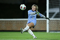 CHAPEL HILL, NC - NOVEMBER 16: Lily Herman #1 of Belmont University kicks the ball during a game between Belmont and North Carolina at UNC Soccer and Lacrosse Stadium on November 16, 2019 in Chapel Hill, North Carolina.