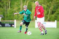 VOETBAL: JUBBEGA: Sportpark 't Heidefjild, 16-05-2012, Nacompetitie, Zondag 4e klasse B, SC Boornbergum'80 - Haulerwijk, Eindstand 2-1, Joey Vermaning (#9 | BB), Jan-Wierd Ritsema (#12 | HW), ©foto Martin de Jong