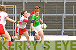 Louise Ní Mhuirtceartaigh goes past Tyrone's Maria Donnelly in Fitzgerald Stadium on Sunday during their NFL division 1 clash