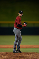 AZL Dbacks relief pitcher Rigoberto Borbolla (12) during an Arizona League game against the AZL Cubs 2 on June 25, 2019 at Sloan Park in Mesa, Arizona. AZL Cubs 2 defeated the AZL Dbacks 4-0. (Zachary Lucy/Four Seam Images)
