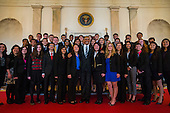 US President Barack Obama (C) has his picture made with the 2015 Intel Science Talent Search finalists in the Grand Foyer of the White House in Washington, DC, USA 11 March 2015.United States President Barack Obama, center, has his picture taken with the 2015 Intel Science Talent Search finalists in the Grand Foyer of the White House in Washington, DC, USA 11 March 2015.<br /> Credit: Jim LoScalzo / Pool via CNP
