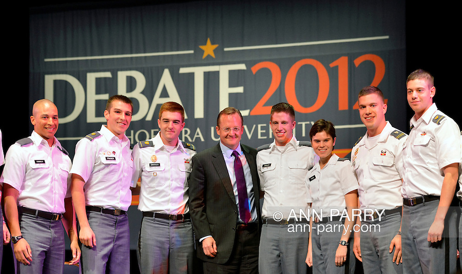 "Oct. 11, 2012 - Hempstead, New York, U.S. - At center in suit, ROBERT GIBBS, former White House Press Secretary and a longtime Advisor to Pres. Obama, with West Point cadets after Rove participated in a Point/Counterpoint discussion at Hofstra University Debate 2012 event. This is part of ""Debate 2012 Pride Politics and Policy"" a series of events leading up to when Hofstra hosts the 2nd Presidential Debate between Obama and M. Romney, on October 16, 2012, in a Town Meeting format."