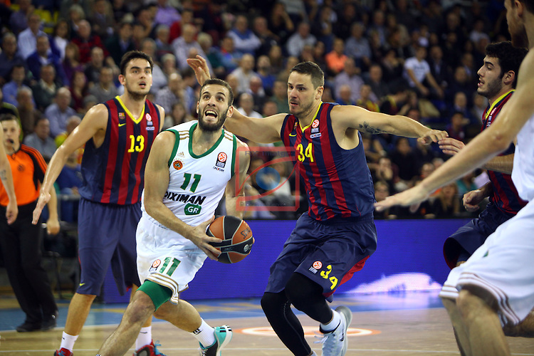 Euroleague Basketball-Regular Season Round 5.<br /> FC Barcelona vs Panathinaikos Athens: 78-69.<br /> Nikos Pappas vs Bostjan Nachbar.