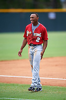 Brevard County Manatees center fielder Corey Ray (2) during a game against the Lakeland Flying Tigers on August 8, 2016 at Henley Field in Lakeland, Florida.  Lakeland defeated Brevard County 6-2.  (Mike Janes/Four Seam Images)