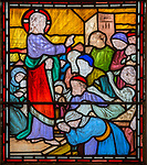 Jesus Christ Healing the paralytic man nineteenth century stained glass window at Holy Trinity church, Easton Royal, Wiltshire, England, UK unknown artist