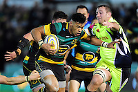 Luther Burrell of Northampton Saints takes on the Sale Sharks defence. Aviva Premiership match, between Northampton Saints and Sale Sharks on December 23, 2016 at Franklin's Gardens in Northampton, England. Photo by: Patrick Khachfe / JMP