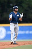 Designated hitter Tim Tebow (15) of the Columbia Fireflies claps after landing on second base in a game against the Greenville Drive on Thursday, June 15, 2017, at Fluor Field at the West End in Greenville, South Carolina. Columbia won, 7-2. (Tom Priddy/Four Seam Images)