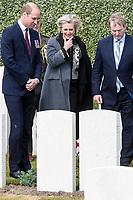 Le Prince William, la Princesse Astrid de Belgique et le Premier Ministre irlandais  Enda Kenny lors des comm&eacute;morations de la Bataille de Messines au cimeti&egrave;re militaire de wijtschat.<br /> Belgique, wijtschat, 7 juin 2017.<br /> The Duke of Cambridge Prince William, Princess Astrid of Belgium and the Taoiseach Enda Kenny attend the Battle of Messines Ridge Commemorations at the military cemetery in wijtschat.<br /> Belgium, Messines, 7 June 2017.
