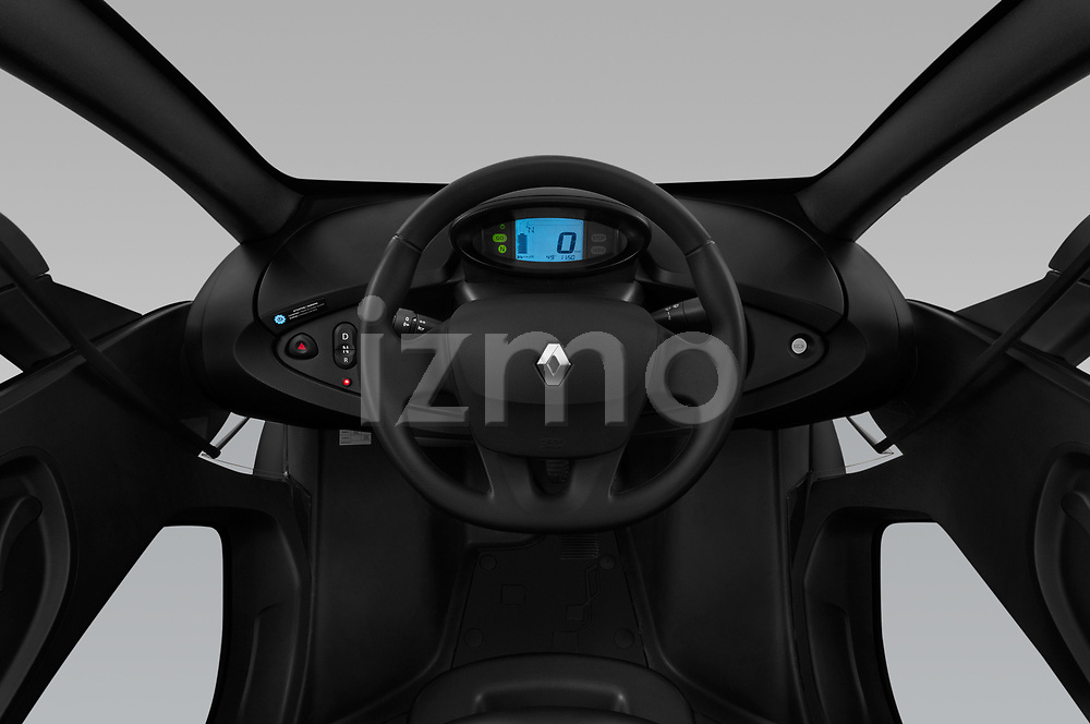 Stock photo of straight dashboard view of a 2018 Renault Twizy Cargo 3 Door Hatchback