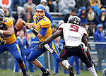 BROOKINGS, SD - OCTOBER 5:  Austin Sumner #6 from South Dakota State University steps away from Bryan Presume #9 from Southern Illinois in the third quarter Saturday afternoon at Coughlin Alumni Stadium in Brookings. (Photo by Dave Eggen/Inertia)