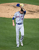 New York Mets relief pitcher Jerry Blevins (39) wipes his forehead as he walks back to the dugout after completing the sixth inning against the Washington Nationals at Nationals Park in Washington, D.C. on Tuesday, July 31, 2018.  The Nationals won the game 25 - 4.<br /> Credit: Ron Sachs / CNP<br /> (RESTRICTION: NO New York or New Jersey Newspapers or newspapers within a 75 mile radius of New York City)
