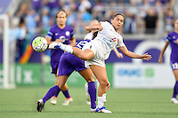 Orlando, FL - Saturday Sept. 24, 2016: Kristen Edmonds, Lo'eau LaBonta during a regular season National Women's Soccer League (NWSL) match between the Orlando Pride and FC Kansas City at Camping World Stadium.