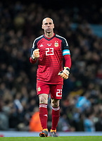 Goalkeeper Willy Caballero (Chelsea) of Argentina celebrates the first goal during the International Friendly match between Argentina and Italy at the Etihad Stadium, Manchester, England on 23 March 2018. Photo by Andy Rowland.
