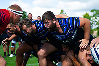 Will Vaughan of Bath Rugby looks to scrummage against his opposite number from the Dragons. Bath Rugby pre-season training on August 8, 2018 at Farleigh House in Bath, England. Photo by: Patrick Khachfe / Onside Images