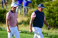 Phil Mickelson (USA) and Kevin Kisner (USA) make their way down 16 during round 2 Four-Ball of the 2017 President's Cup, Liberty National Golf Club, Jersey City, New Jersey, USA. 9/29/2017.<br /> Picture: Golffile | Ken Murray<br /> <br /> All photo usage must carry mandatory copyright credit (&copy; Golffile | Ken Murray)