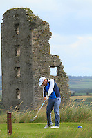 Daniel Holland (Castle) on the 13th tee during Round 3 of The South of Ireland in Lahinch Golf Club on Monday 28th July 2014.<br /> Picture:  Thos Caffrey / www.golffile.ie