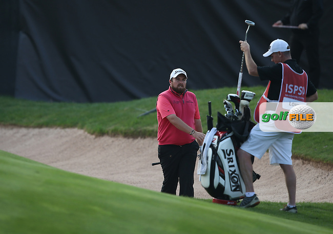 Shane Lowry (IRL) not happy with his bunker shot to the last during Round Three of the ISPS Handa Wales Open 2014 from the Celtic Manor Resort, Newport, South Wales. Picture:  David Lloyd / www.golffile.ie
