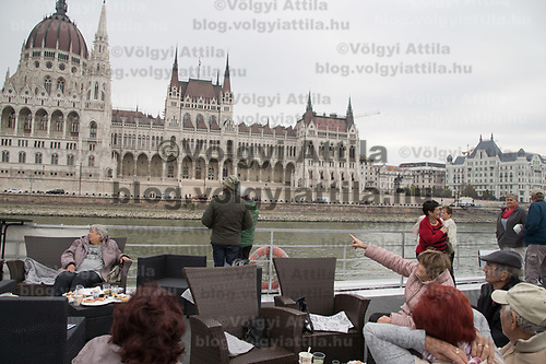 Participants enjoy a boat ride on river Danube with the Parliament building in the background during the International Day for Older Persons in Budapest, Hungary on Oct. 1, 2018. ATTILA VOLGYI