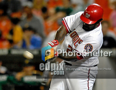 5 June 2007: Washington Nationals first baseman Dmitri Young in action against the Pittsburgh Pirates at RFK Stadium in Washington, DC. The Pirates defeated the Nationals 7-6, in the first game of their 3-game series...Mandatory Credit: Ed Wolfstein Photo