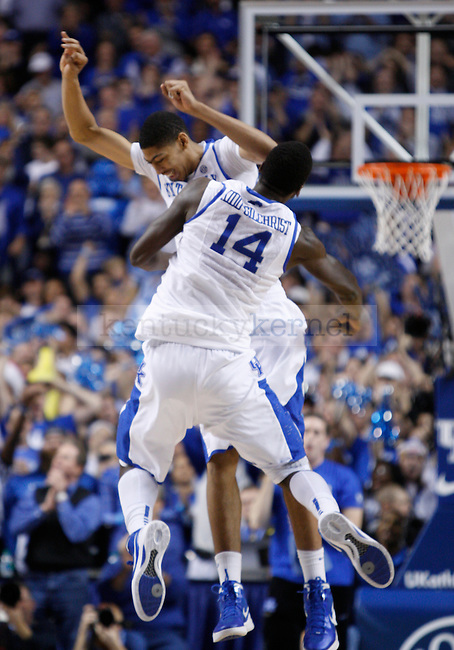 UK's Michael Kidd-Gilchrist chest bumps Anthony Davis after a play against UofL at Rupp Arena on Saturday, Dec. 31, 2011. The Cats defeated the Cards 69-62. Photo by Scott Hannigan | Staff