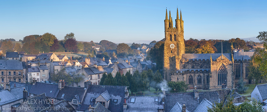 Tideswell church at sunrise on a frosty morning, Peak DIstrict National Park, Derbyshire, UK. October. Digitally stitched panorama.