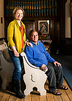 Reverend Ali Lufkin and her husband George Lufkin at the St. George Episcopal Church in Leadville, Colorado, Thursday, May 11, 2017. Leadville, which has historically been a home for low income residents who work in higher income towns, is beginning to see signs of development and high prices.<br /> <br /> Photo by Matt Nager
