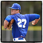 Starting pitcher Charles Schaum (27) of the Spartanburg Methodist College Pioneers struck out seven in six innings to earn the 12-4 win in Game 1 of a junior college doubleheader against the Southeastern Community Rams on Tuesday, March 26, 2019, at Mooneyham Field in Spartanburg, South Carolina. (Tom Priddy/Four Seam Images)