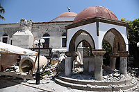 Pictured: Part of one of the damaged mosques has collapsed in Kos town, Greece.<br /> Re: A 6.4 Richter Scale earthquake has hit the tourist island of Kos in Greece.