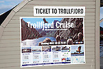 Ticket office for Trollfjord cruise, Svolvaer, Lofoten Islands, Nordland, Norway Thon hotel in background