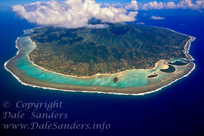 Aerial view of the island of Rorotonga,  Cook Islands in the South Pacific.