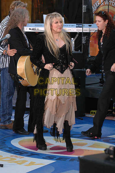 STEVIE NICKS.Stevie Nicks performs in concert on the NBC Today Show in Rockefeller Plaza.  .USA, United States.28th September 2005.Ref:ADM/PO.full length worst dressed black beige layered floaty chiffon platform shoes heels.www.capitalpictures.com.sales@capitalpictures.com.© Capital Pictures.