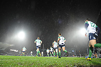 01/01/2016;Guinness PRO12 Round 11 - Leinster v Conacht, RDS, Dublin.<br /> Connacht players run onto the pitch before the game.<br /> Photo Credit: actionshots.ie/Tommy Grealy
