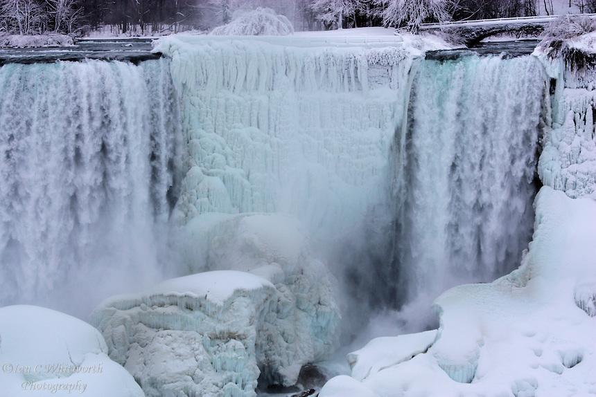 The icy and snowy US falls at Niagara