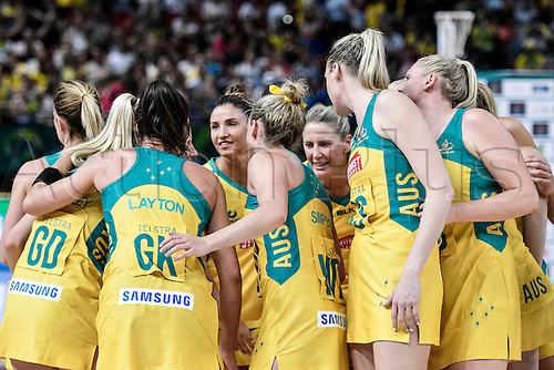 09.10.2016. Qudos Bank Arena, Sydney, Australia. Constellation Cup Netball. Australia Diamonds versus New Zealand Silver Ferns. The Diamonds celebrates as they win the game 68-56.