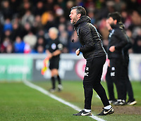 Lincoln City's assistant manager Nicky Cowley shouts instructions to his team from the technical area<br /> <br /> Photographer Andrew Vaughan/CameraSport<br /> <br /> The EFL Sky Bet League Two - Lincoln City v Northampton Town - Saturday 9th February 2019 - Sincil Bank - Lincoln<br /> <br /> World Copyright &copy; 2019 CameraSport. All rights reserved. 43 Linden Ave. Countesthorpe. Leicester. England. LE8 5PG - Tel: +44 (0) 116 277 4147 - admin@camerasport.com - www.camerasport.com