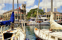 Bridgetown, Barbados.  Harbour/harbor with yachts and the city.
