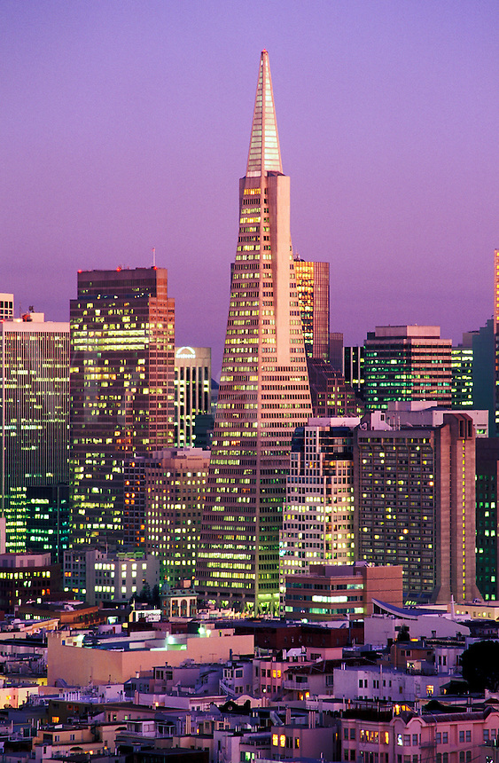 USA, California, San Francisco. View of skyline with Trans America Buildin